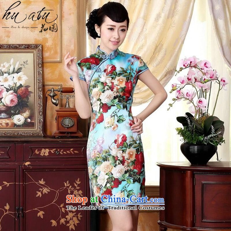 Floral heavyweight Ms. Silk Cheongsam retro improved Mock-neck herbs extract poster stretch of Sau San double short cheongsam floral聽2XL
