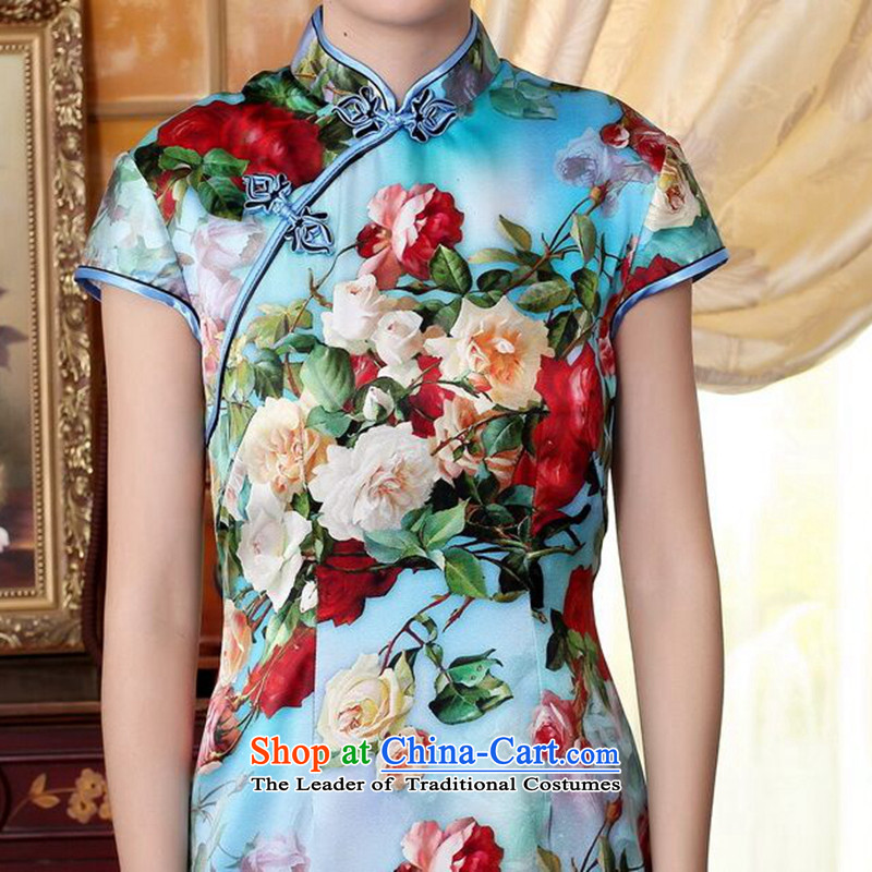 Floral heavyweight Ms. Silk Cheongsam retro improved Mock-neck herbs extract poster stretch of Sau San double short qipao聽2XL, flowers to spend figure , , , shopping on the Internet