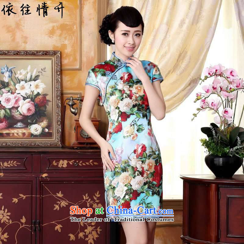 In accordance with the love of trendy new l retro ethnic Chinese Tang dynasty qipao gown ramp collar poster Sau San short-sleeved qipao skirt?LGD/Z0021#?figure?L