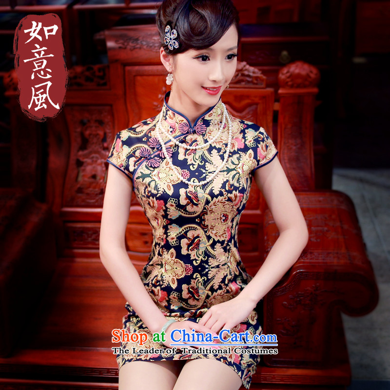 After a day of wind?spring and summer 2015 new cotton, stylish improved short of Qipao short-sleeved qipao 4011 New?4011 suit?S