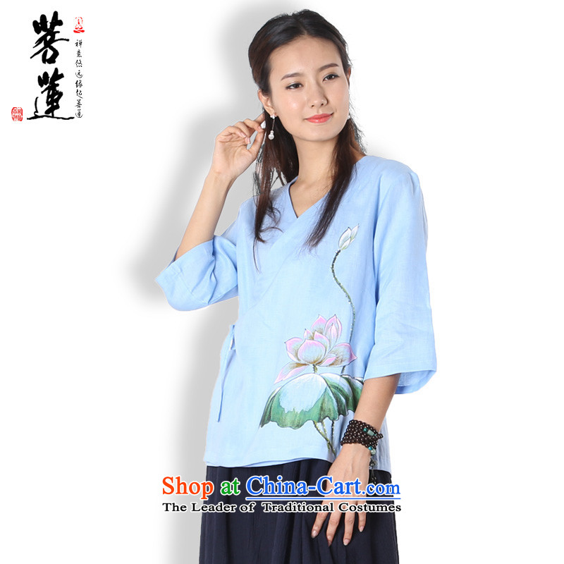On Lin Yi cotton linen retreat original linen women summer load Han-tang tea serving China wind yoga services 2,005 painted color T-shirt Lin燬