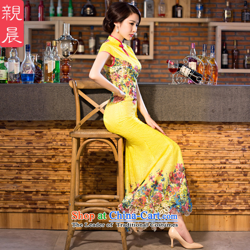 The pro-am new daily qipao 2015 skirt Fashion Ms. summer improved retro long crowsfoot cheongsam dress yellow?S