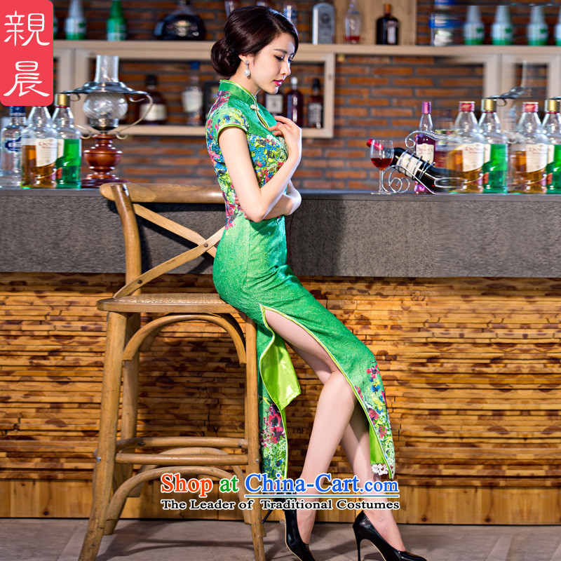 The pro-am daily new improvements by 2015 stylish cheongsam dress Ms. summer long short-sleeved lace cheongsam dress green 2XL