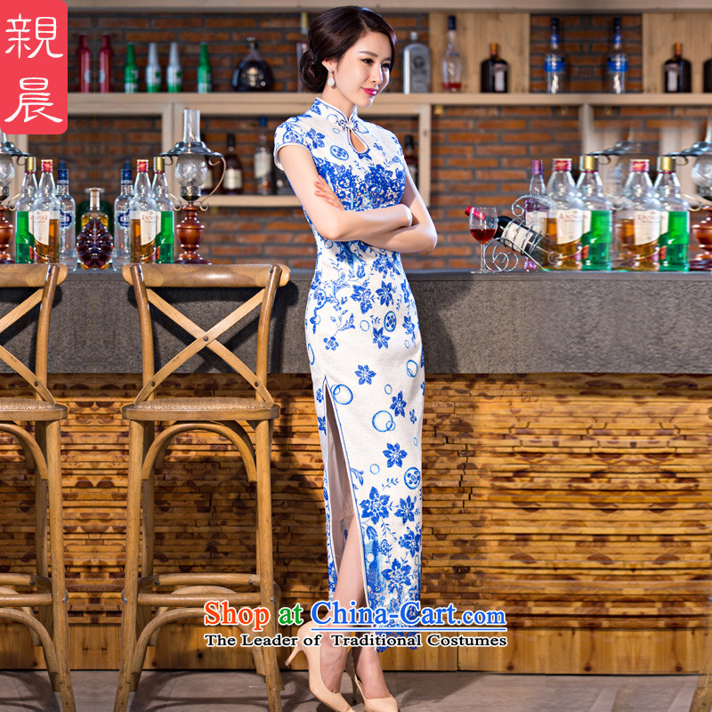 At 2015 new parent cheongsam dress improved stylish summer day-to-day long retro Ms. short-sleeved cheongsam dress blue?2XL