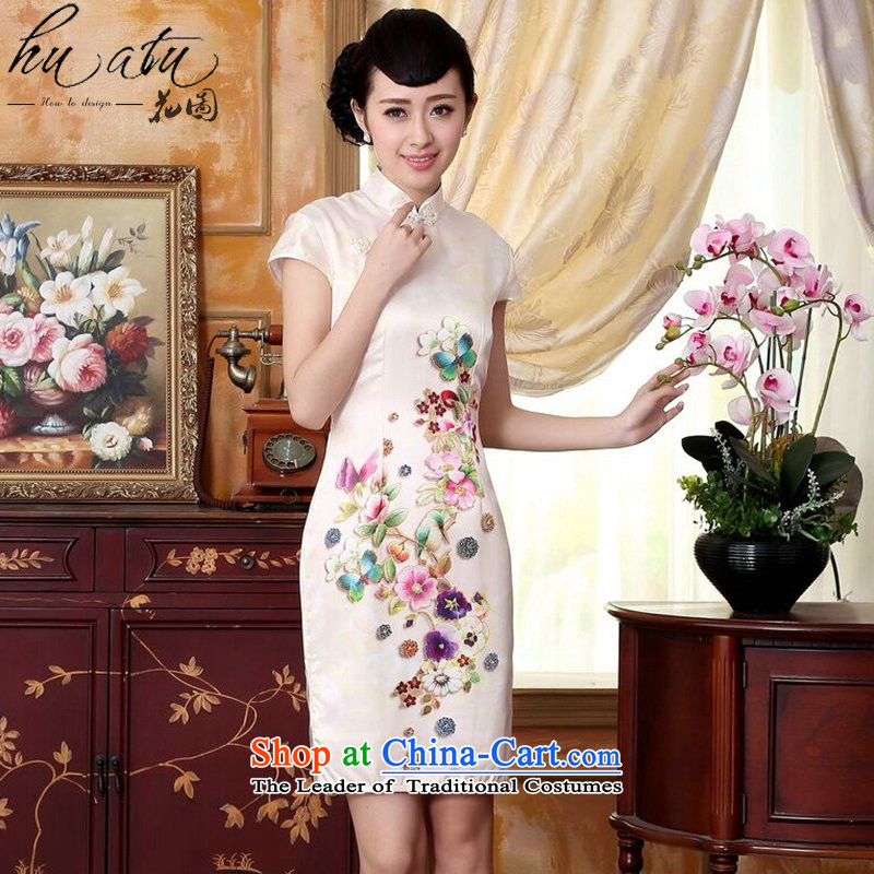It new summer autumn Mudan heavyweight silk positioning poster herbs extract Elastic satin short skirts qipao dinner swordmakers Mudan燬