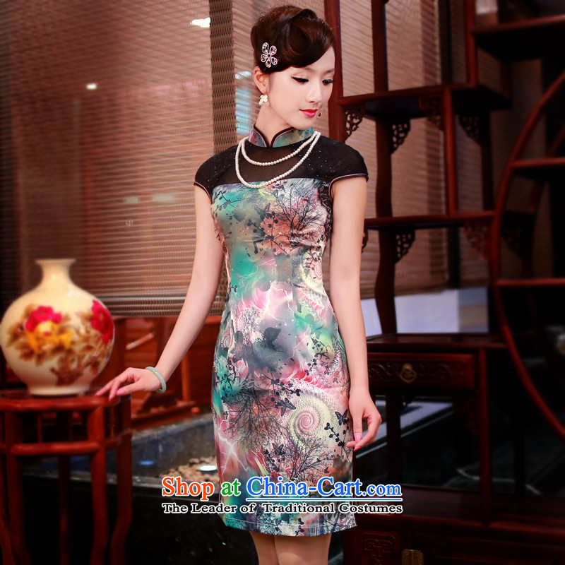 After a new wind 2015 skirt Fashion stamp daily qipao retro high-end cheongsam dress 4339th new?4339th green?XL