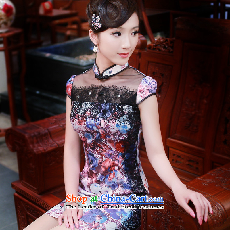 ?The spring and summer of 2015, the wind turbine after a new stylish retro improved daily short-sleeved cheongsam dress 4346 New?4346 purple flowers?S
