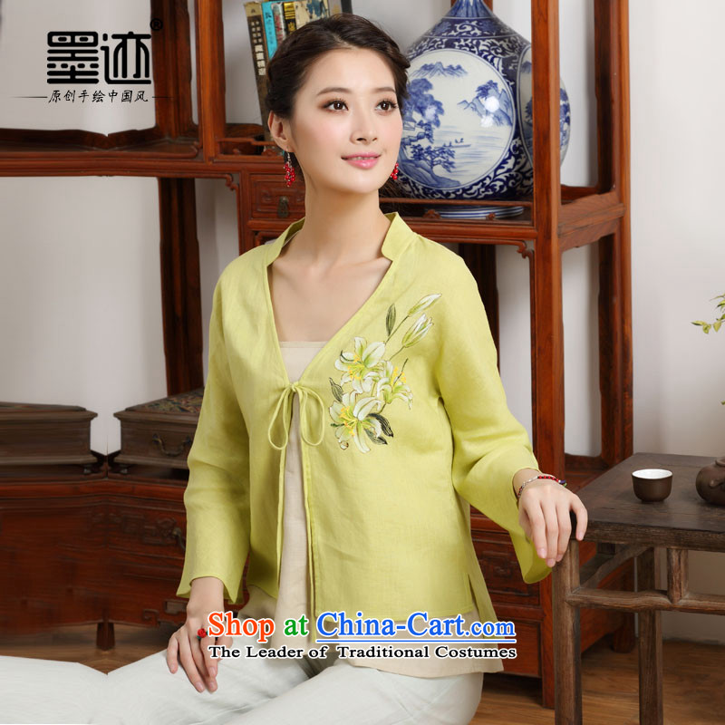 The new summer 2015 ink hand-painted linen Improvement Package -as soon as possible and perpetuates the lily long-sleeved yellow XXL