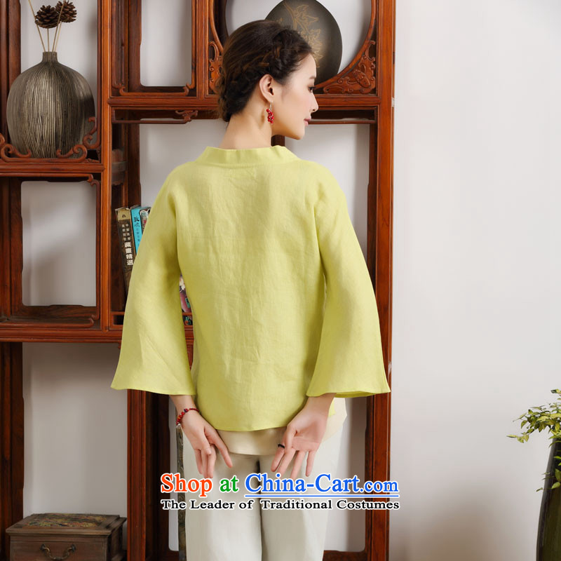 The new summer 2015 ink hand-painted linen Improvement Package [as soon as possible and perpetuates the lily long-sleeved yellow聽ink has been pressed XXL, shopping on the Internet