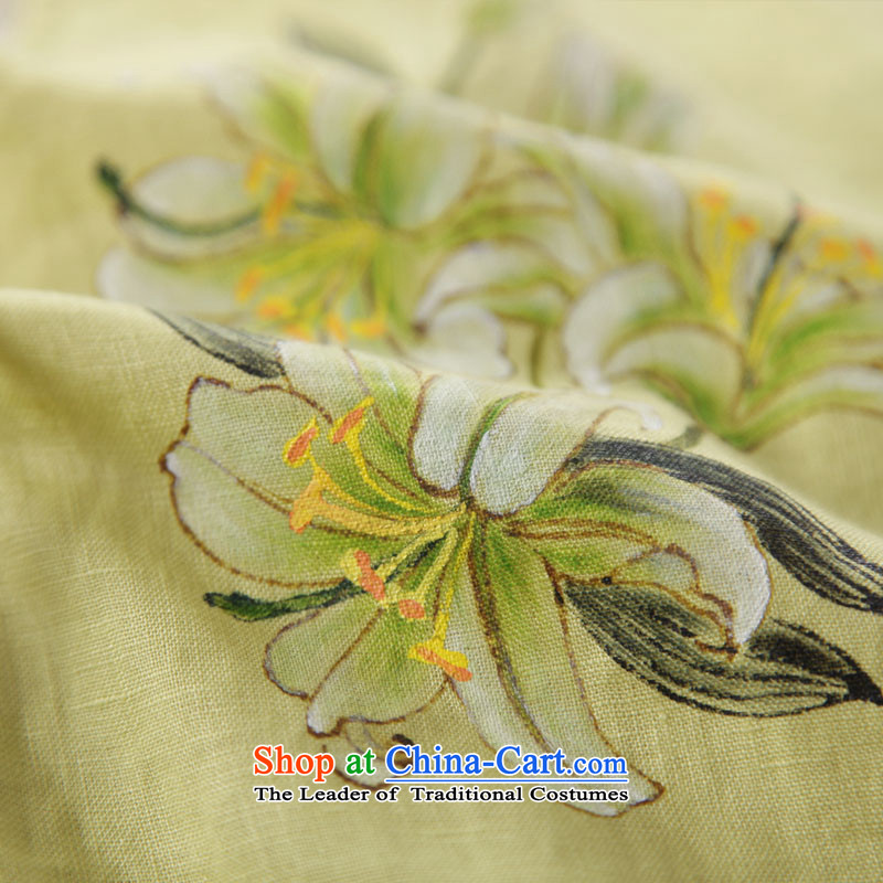 The new summer 2015 ink hand-painted linen Improvement Package [as soon as possible and perpetuates the lily long-sleeved yellow ink has been pressed XXL, shopping on the Internet