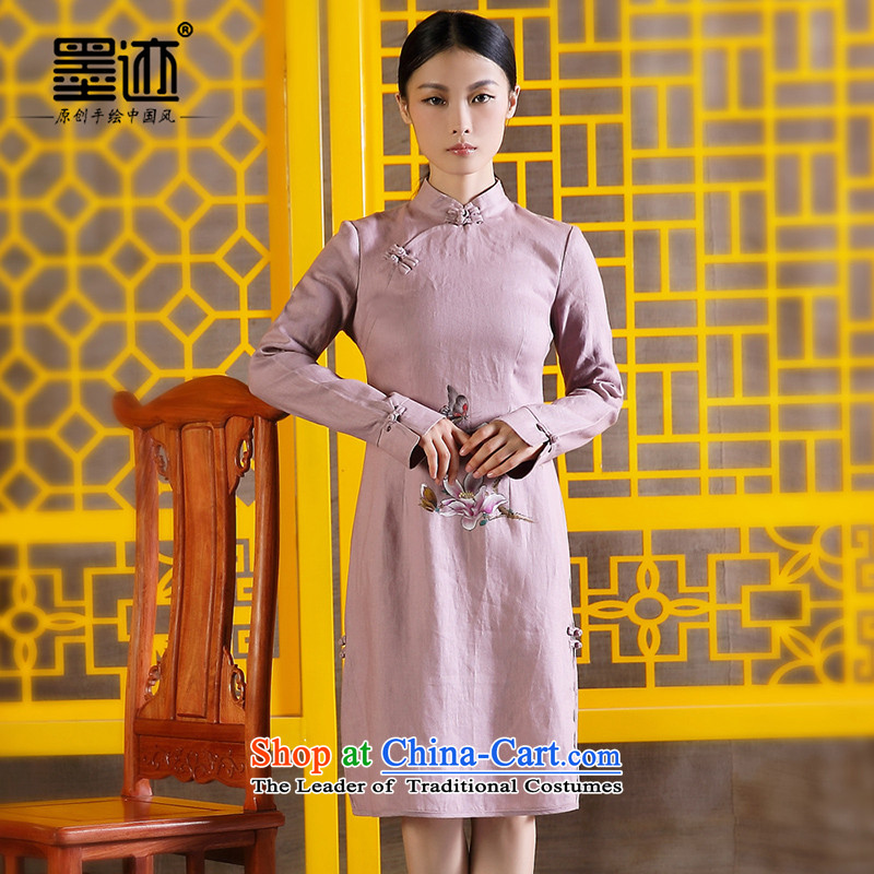 Ink hand-painted Tang dynasty linen lotus antique pink dresses long-sleeved light violet M