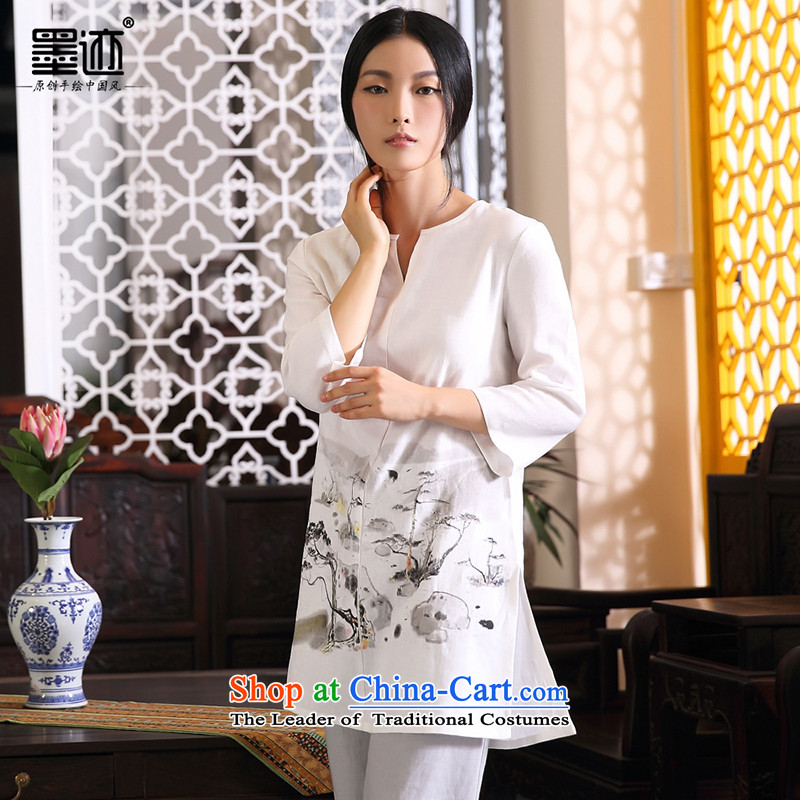 Pine Tree Hill Yunhai Ink Tang dynasty cotton linen dresses loose linen Han-girl arts van off-white linen Women's clothes autumn?XXL