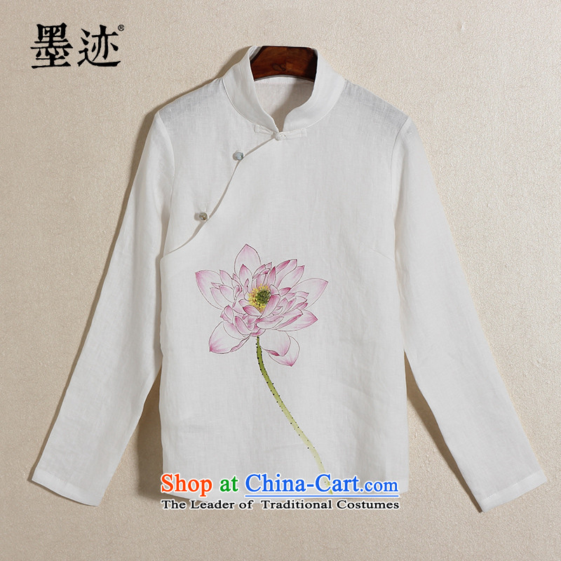 2015 New Ink China wind hand-painted lotus cotton linen retreat serving women Chinese Tang dynasty improved female Han-female white L
