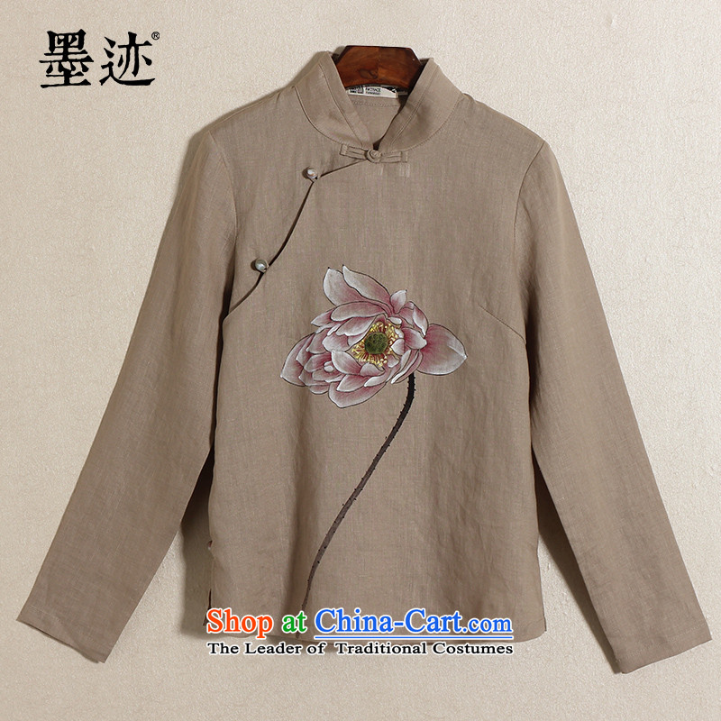 The original ink China wind load spring and summer cotton linen clothes hand-painted lotus female national wind linen tea services retreat serving T-shirt and brown?M