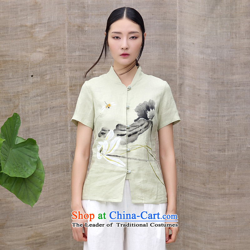 Ink summer new cotton linen improved Tang dynasty of ethnic Chinese Han-hand-painted T-shirt retreat serving tea lotus m Tsing?XXL