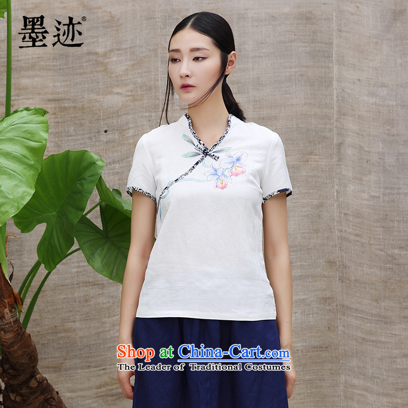 Ink summer new products the intuition of the orchids Tang blouses female Han-linen short-sleeved T-shirt national wind jacket white?L