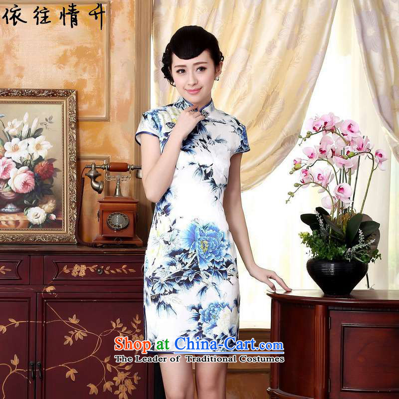 In accordance with the love of the summer l trendy new sheikhs wind daily cheongsam collar Classic tray clip short of Sau San Tong replacing cheongsam dress?LGD/Z0025#?figure?M