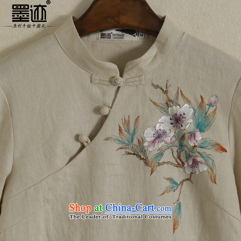 New Spring ink hand-painted cotton linen long-sleeved daily Han-Chinese Tang dynasty improved linen clothes women national khaki XXL