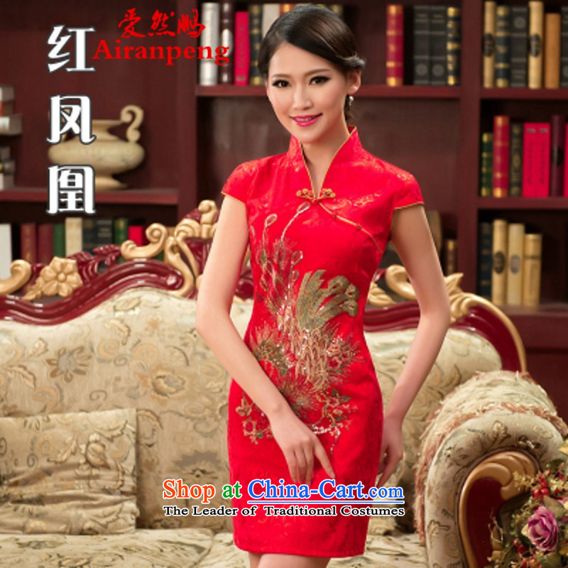 Love So Peng Bridal Services 2015 new drink everyday qipao four-color Phoenix dresses Wedding Dress Short stylish summer red?S can return