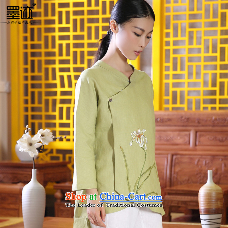 Ink Install autumn 2014 cotton linen original Tang dynasty women improved Han-girl ethnic costumes of nostalgia for the hand-painted Xuan spend light green?L