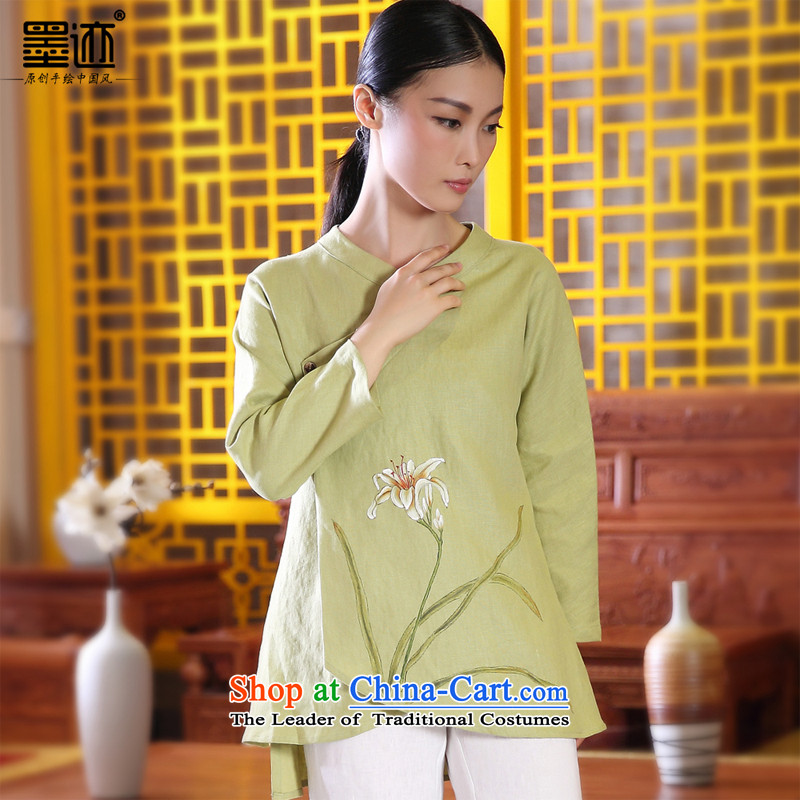 Ink Install autumn 2014 cotton linen original Tang dynasty women improved Han-girl ethnic costumes of nostalgia for the hand-painted flowers light green聽L Xuan ink has been pressed shopping on the Internet
