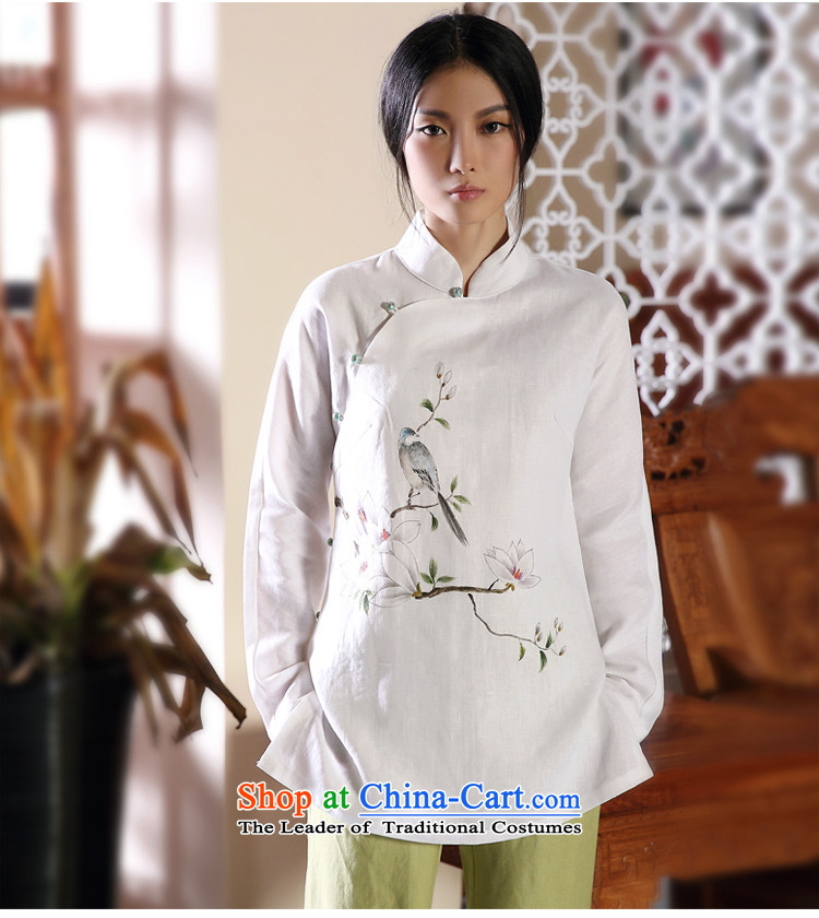 The autumn of the ink image bird painting autumn and winter new products hand-painted cotton linen Tang Dynasty Chinese Han-female national wind jacket white聽L picture, prices, brand platters! The elections are supplied in the national character of distribution, so action, buy now enjoy more preferential! As soon as possible.