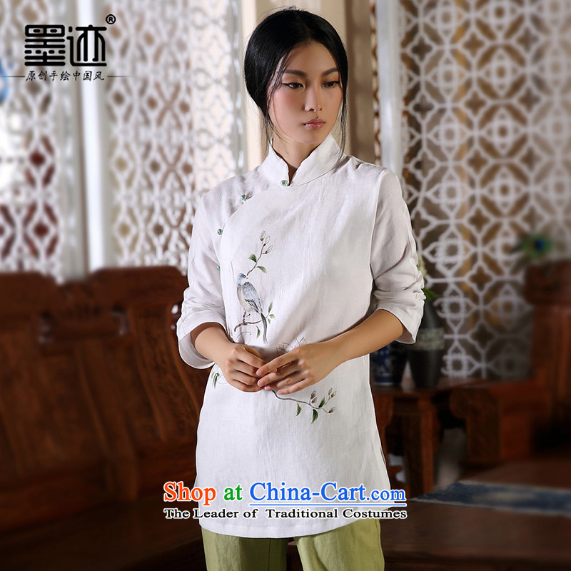 The autumn of the ink image bird painting autumn and winter new products hand-painted cotton linen Tang Dynasty Chinese Han-female national wind jacket white?L