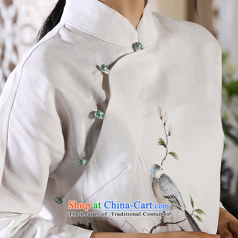 The autumn of the ink image bird painting autumn and winter new products hand-painted cotton linen Tang Dynasty Chinese Han-female national wind jacket white聽ink, L, , , , shopping on the Internet