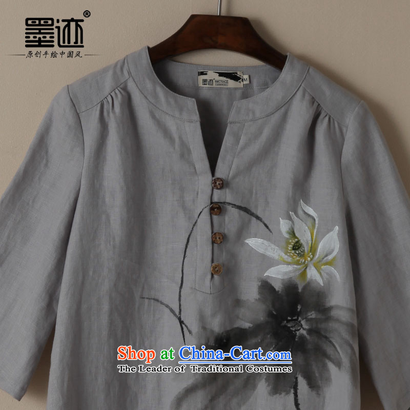 Ink cotton linen Tang dynasty new spring and autumn loose hand-painted on literary and artistic linen van relaxd casual lotus linen L