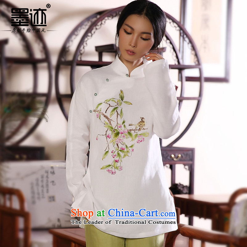 Ink 2014 autumn and winter new products hand-painted cotton linen Tang Dynasty Chinese Han-girl shirt ethnic retro jacket white?L