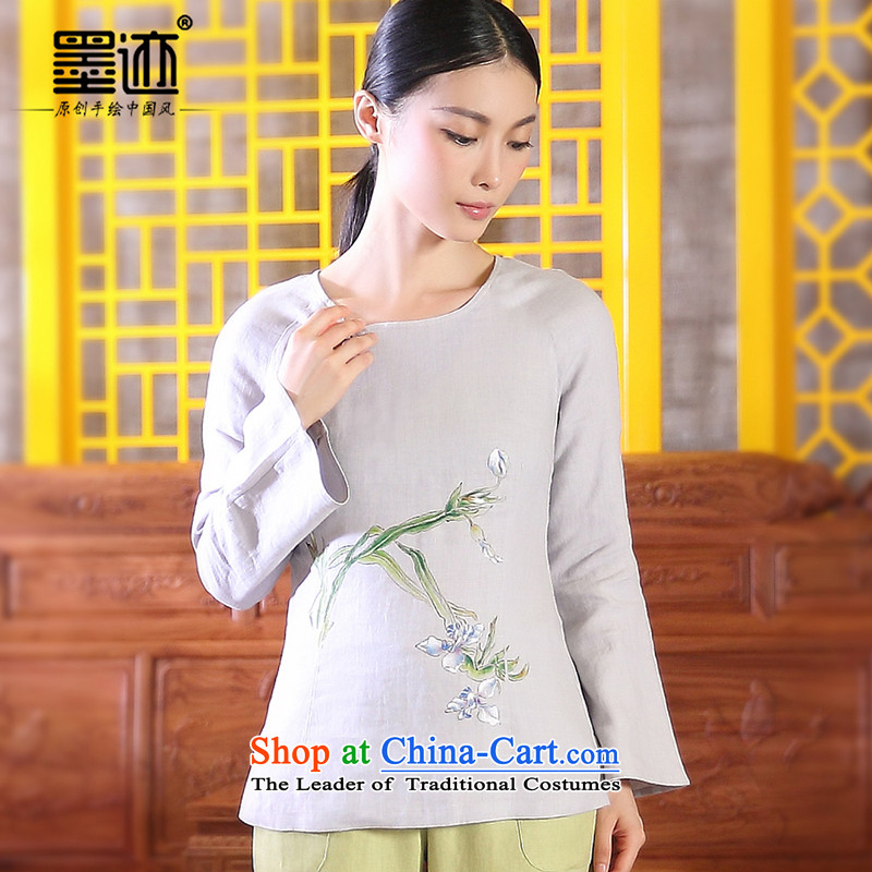 The valley of ink-Ho Chiu-loaded Han-girl Tang dynasty cotton linen cloth retro Tang dynasty linen Female Light Gray燲XL