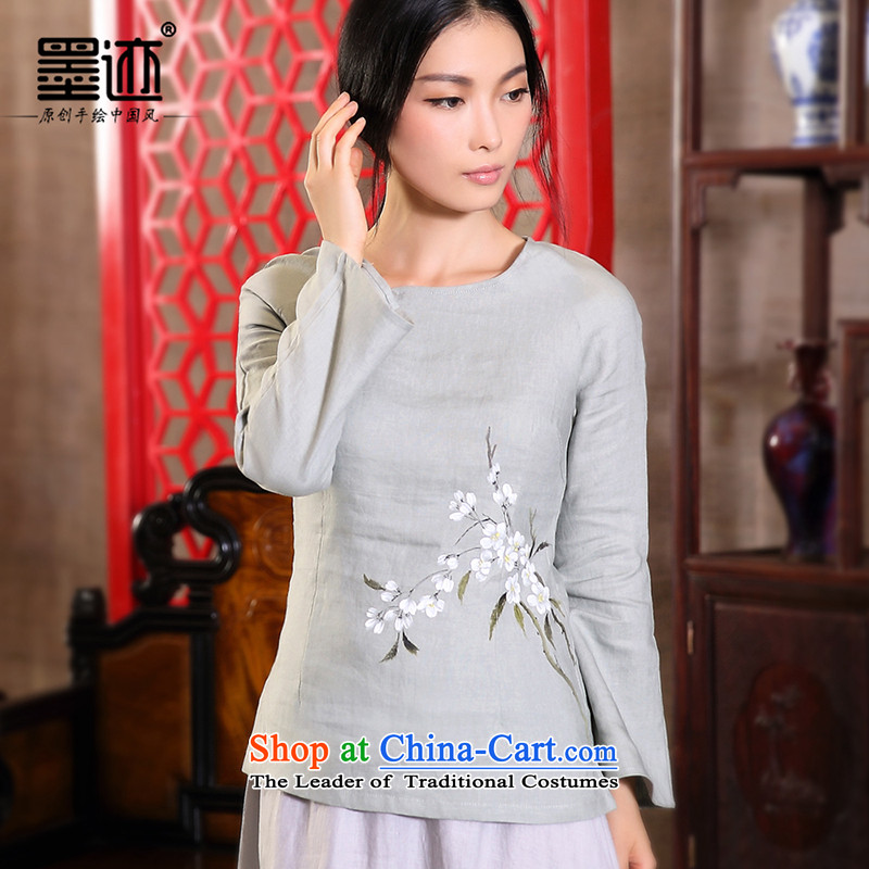 One of the ink Heng Fa light rain linen Han-girl autumn replacing Tang dynasty cotton linen female retro ethnic installed on the light gray?M