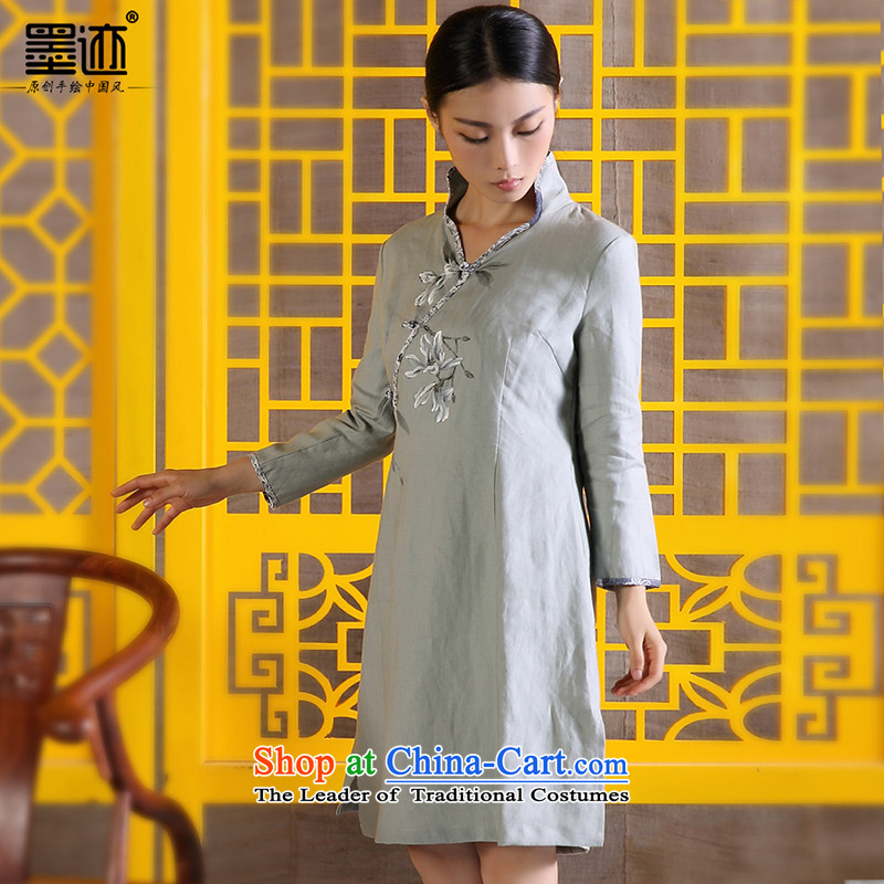 The size of the ink pack women autumn cotton linen flax Tang dynasty retreat Yi ethnic Han-improved hand painted art nouveau Female dress Light Gray?L