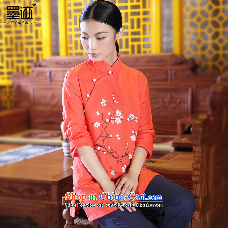 Ink autumn and winter new products hand-painted cotton linen Tang Dynasty Chinese Han-girl shirt ethnic retro jacket red燣