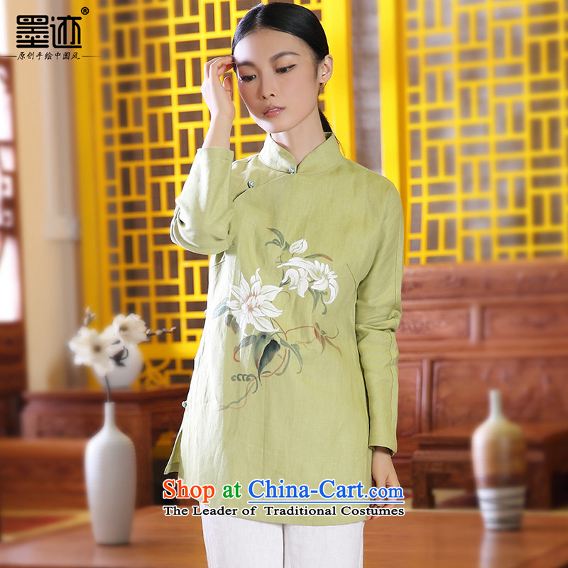 2015 new ink hand-painted cotton linen Tang Dynasty Chinese Han-girl shirt national wind jacket retro green L