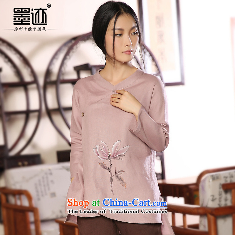 One of the ink flower cotton linen Tang dynasty women fall with flax Han-cloth retro ethnic costumes relaxd light purple�XXL