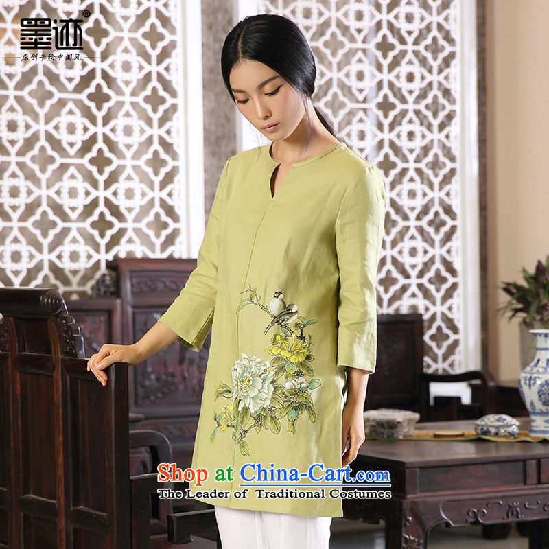 Ink perpetuates the original design of the cuckoo arts van ethnic cotton linen china wind load autumn female large Chinese women's green?L