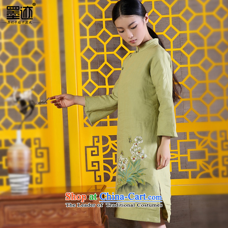 The size of the ink from the spring and autumn 2015 Women's new product improvement of ethnic Tang Dynasty Han-hand painted art nouveau linen dresses light green XL