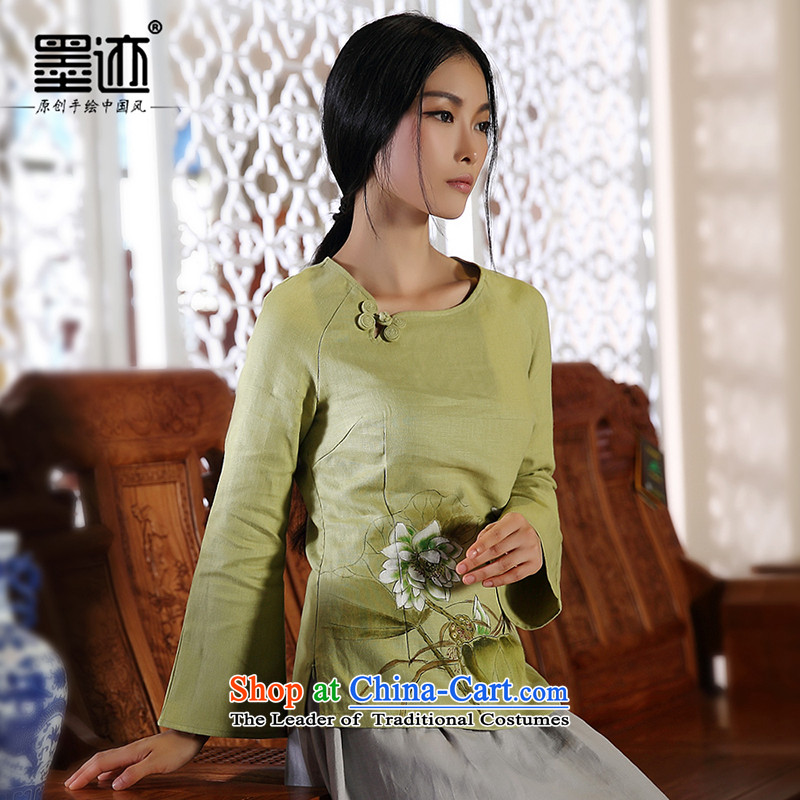 Replace ethnic autumn ink hand-painted flowers Ms. Tang dynasty cotton linen improved Han-girl Chinese blouses green燤