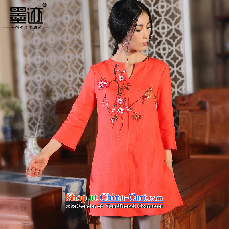 The Peach Blossom oriole ink 2015 Original loose cotton linen flax female fall inside the literary van cotton linen ethnic red-orange red M