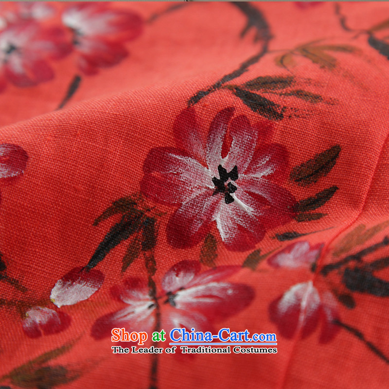 The Peach Blossom oriole ink 2015 Original loose cotton linen flax female fall inside the literary van cotton linen ethnic red-orange red M ink has been pressed shopping on the Internet