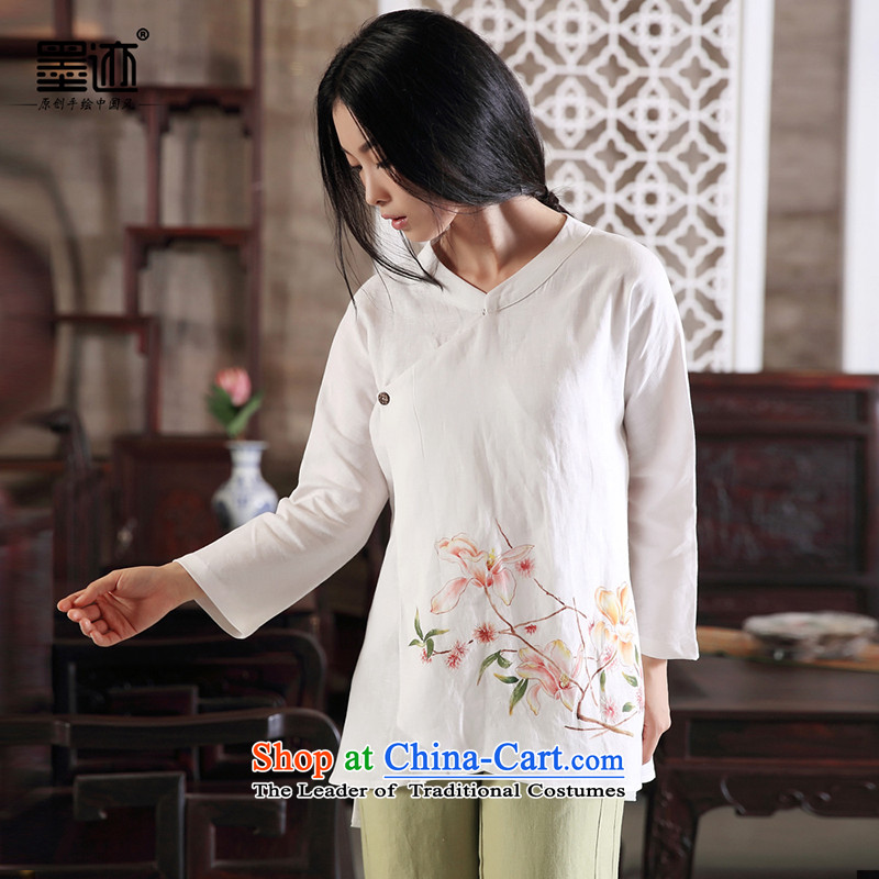 Magnolia Autumn Arabic Ink Chinese cotton linen fall inside the girl Tang blouses Han-cloth loose ethnic linen female White XXL
