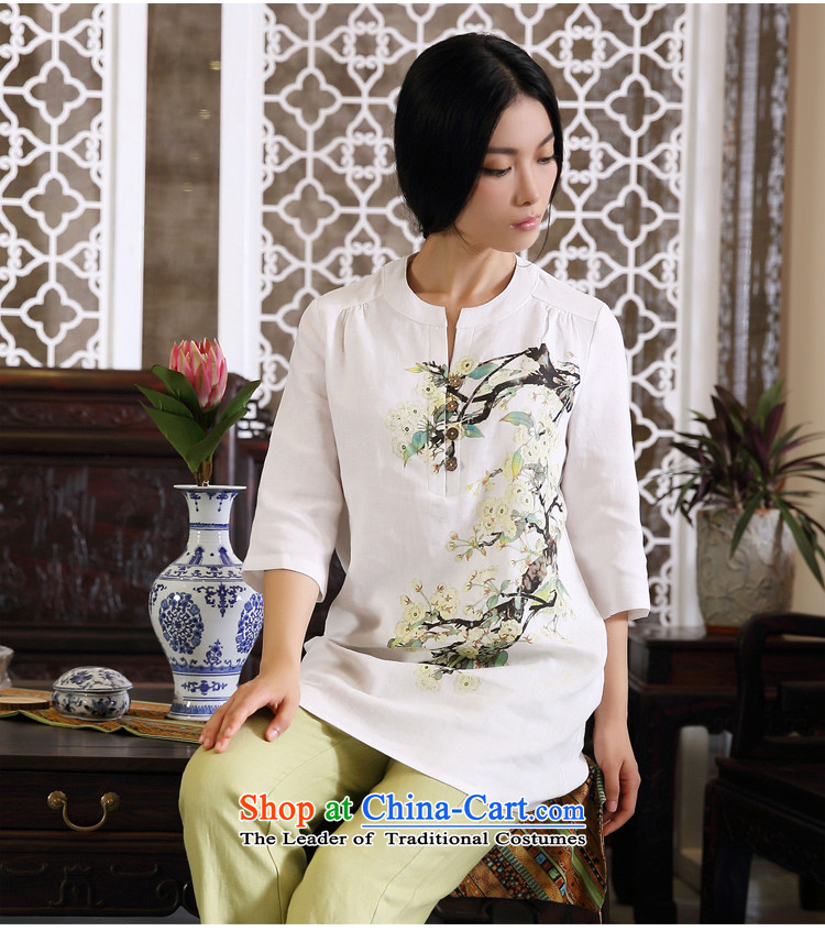 Ink Ewha Light Rain Fall with cotton linen dress linen Chinese Han-Tang dynasty women clothes hand-painted whiteXXL ethnic arts pictures, prices, brand platters! The elections are supplied in the national character of distribution, so action, buy now enjoy more preferential! As soon as possible.