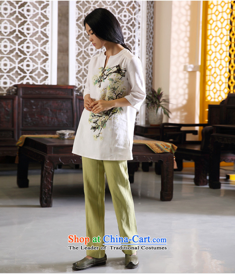 Ink Ewha Light Rain Fall with cotton linen dress linen Chinese Han-Tang dynasty women clothes hand-painted white XXL ethnic arts pictures, prices, brand platters! The elections are supplied in the national character of distribution, so action, buy now enjoy more preferential! As soon as possible.