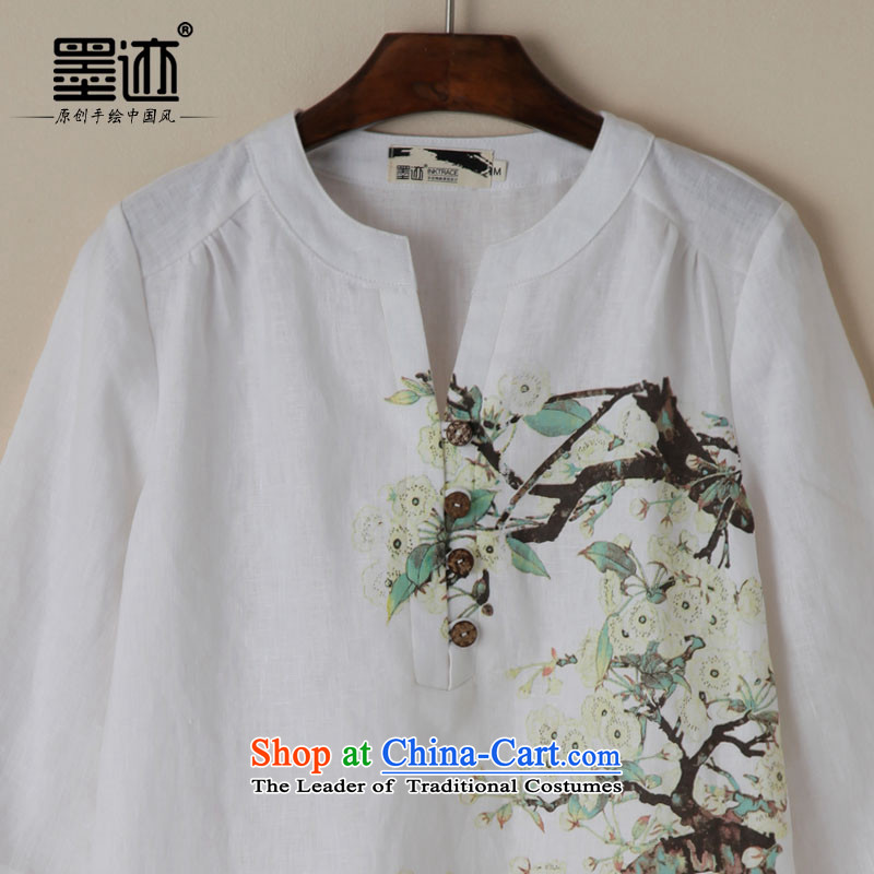 Ink Ewha Light Rain Fall with cotton linen dress linen Chinese Han-Tang dynasty women clothes hand-painted white XXL, Ethnic Arts ink has been pressed shopping on the Internet
