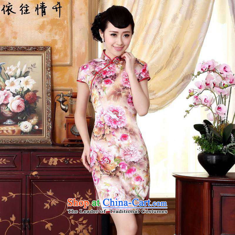In accordance with the Love l summer trendy new for women retro ethnic improved Tang dynasty collar disc detained Sau San Tong loaded short-sleeved qipao skirt�Lgd/z0022�figure�XL