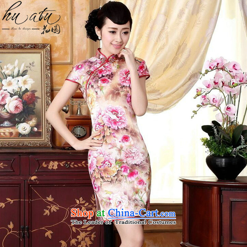 Take the new summer figure of Qipao Color Tianxiang innocence Silk flower painting elastic positioning the herbs extract dinner short qipao swordmakers Mudan燲L