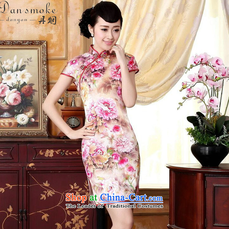Dan smoke new summer qipao country color Tianxiang innocence Silk flower painting elastic positioning the herbs extract dinner short qipao swordmakers Mudan聽XL