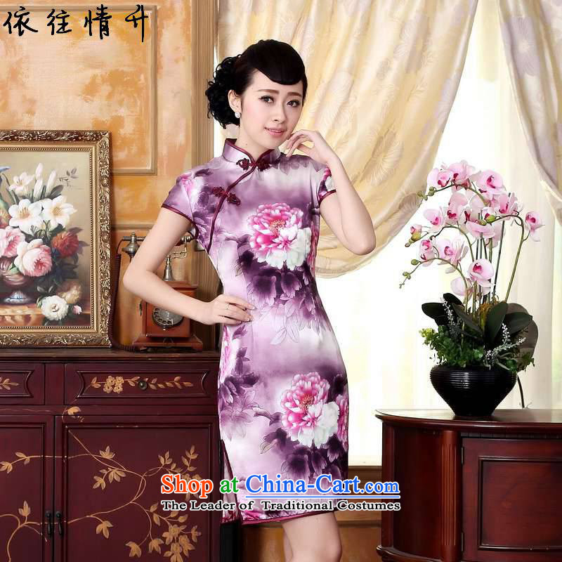 In accordance with the love of the summer l trendy new retro improvement of autumn peony silk poster positioning spend a short skirt燣gd_z0023_ Sau San Qipao_燼s shown in figure�L