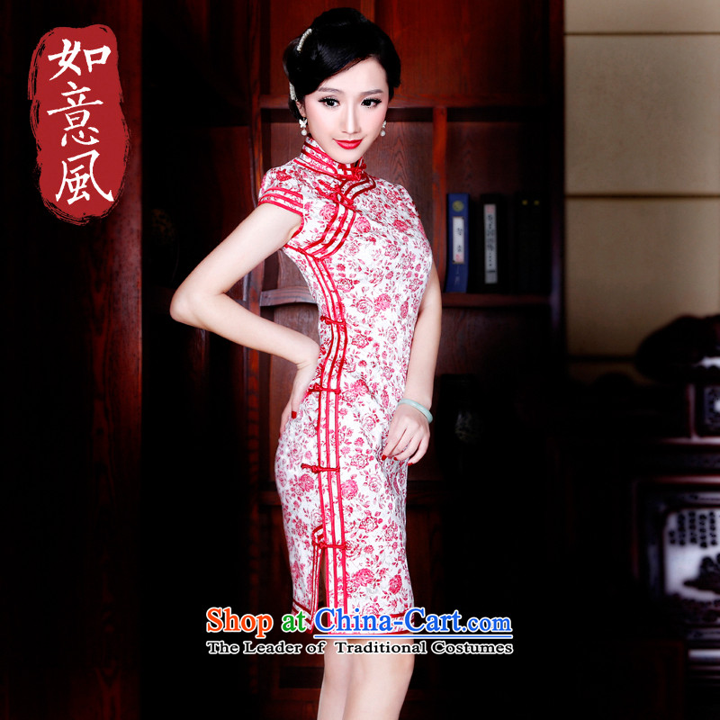 ?The spring and summer of 2015, the Wind after replacing the new stylish retro skirt qipao improved Sau San cheongsam dress?5,180?5,180 new red?L